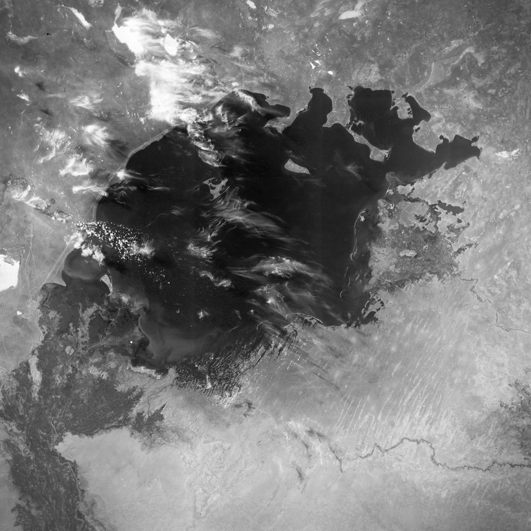"""The Aral Sea in 1964. <a href=""""http://earthobservatory.nasa.gov/IOTD/view.php?id=77193"""">U.S. Air Force/NASA Earth Observatory</a>"""