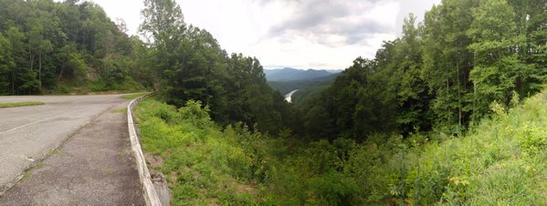 A panorama taken from The Road to Nowhere in Bryson City, NC.  thumbnail