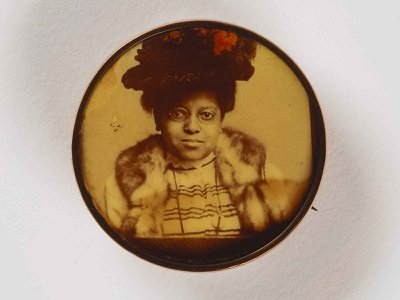 The Larry J. West Collection features an array of early photography, (above: Untitled (pin, woman in hat) by unidentified artist, ca. 1865), presenting a stunning new visual record.
