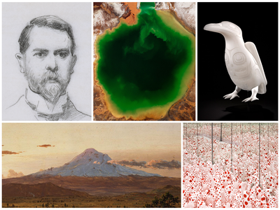 Spectacular offerings include (clockwise from top left): John Singer Sargent; art in response to the Age of Humans; Preston Singletary; Yayoi Kusama; and the mighty influence of Alexander von Humboldt.