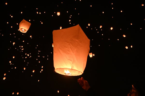 Releasing the lantern at the The Light Fest. thumbnail