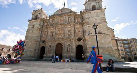 The zocalo in Oaxaca, Mexico, blocks away from the Hotel Las Golondrinas