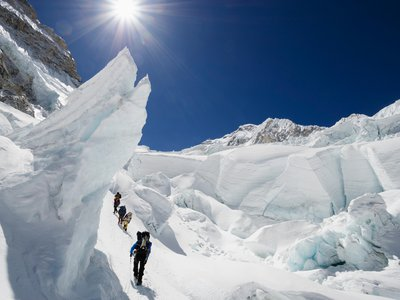 Climbers in the Khumbu Icefall on Mount Everest.