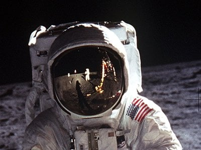 In 1969, astronaut Neil Armstrong took this photo of Buzz Aldrin on the first-ever moon walk. Humans haven't walked on the moon since 1972.