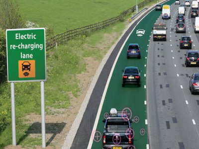 A mock-up of an electric road