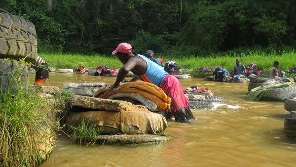 Laborers in the Abidjan River Laundry in Abidjan, Ivory Coast thumbnail