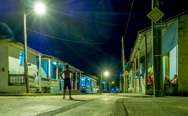 Street at night Baracoa Cuba thumbnail