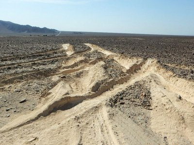 Truck tracks on the Nasca lines