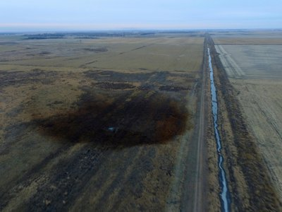 This aerial photo shows spills from TransCanada Corp.'s Keystone pipeline on Friday, November 17, 2017.