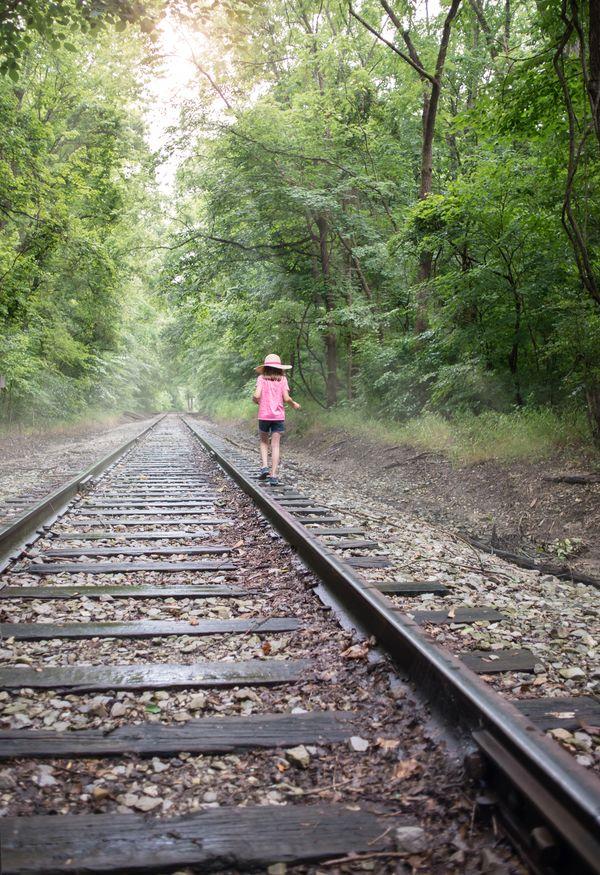 Exploring misty railroad tracks. thumbnail