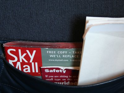 The familiar SkyMall magazine on planes is now unfortunately bankrupt.