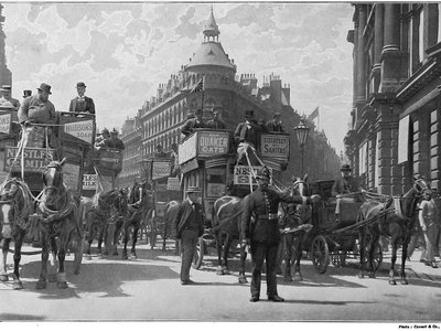 A police officer directs traffic in London in the 1890s.