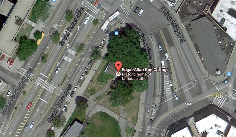 A satellite view of Poe's Cottage at its current site in the Bronx (image: Google Maps)