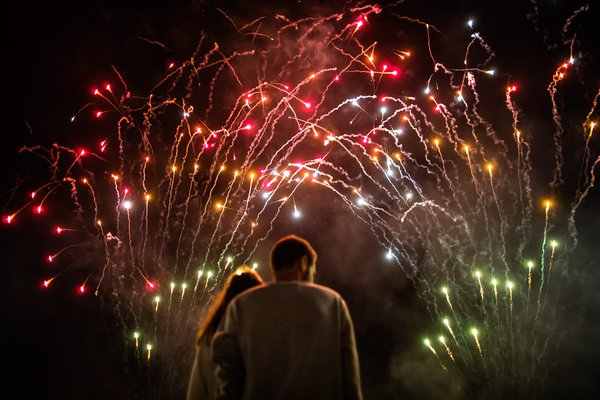 young couple watching the fireworks thumbnail