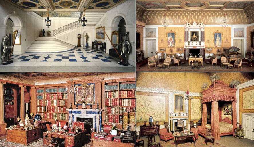 A selection of interior details from Queen Mary's Dollhouse