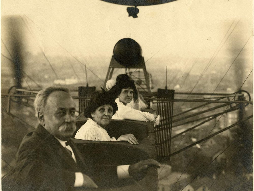 A. Roy Knabenshue's father, mother, and wife seen aloft over Chicago, Illinois, in the