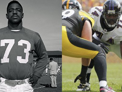 """Roosevelt Brown (pictured left), a star tackle for the New York Giants from 1953 to 1965, was 6'3"""" and 255 pounds. Michael Oher, offensive tackle for the Baltimore Ravens, stands at 6'4"""" and weighs 315 pounds."""