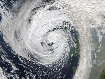 The remnants of Hurricane Ophelia are seen enveloping Ireland on October 16
