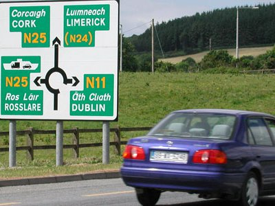 When approaching a roundabout (traffic circle) in the British Isles, drivers often see a sign that charts the exits.