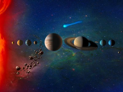 An artist's concept of the solar system