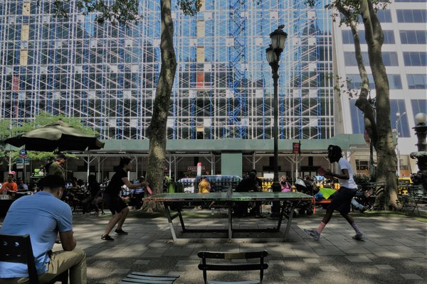 Ping pong game in Bryant Park NYC thumbnail