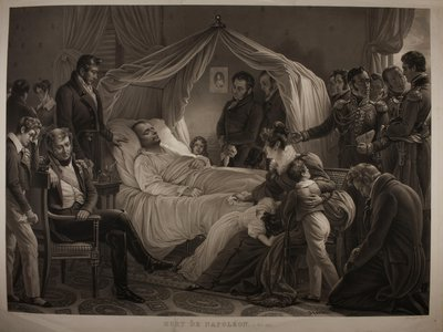 An 1843 aquatint by Jean-Pierre-Marie Jazet, after a painting by Carl von Steuben, depicts Napoleon Bonaparte in his final moments.