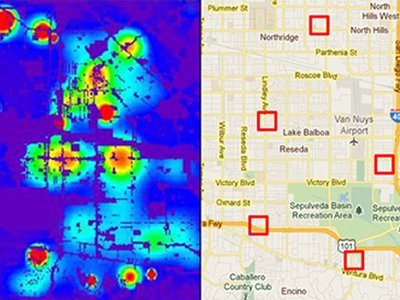 Predictive policing is built around algorithms that identify potential crime hotspots..