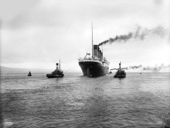 Titanic leaving Belfast, Ireland for her sea trials, April 2, 1912
