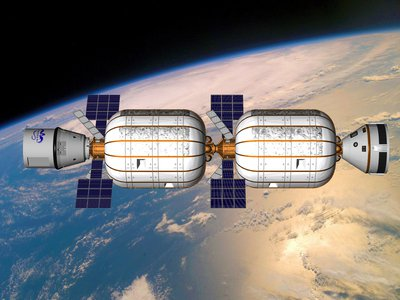 Bigelow Aerospace's proposed space station, Alpha, would be made up of sausage-link-esque blocks, each the size of a school bus.