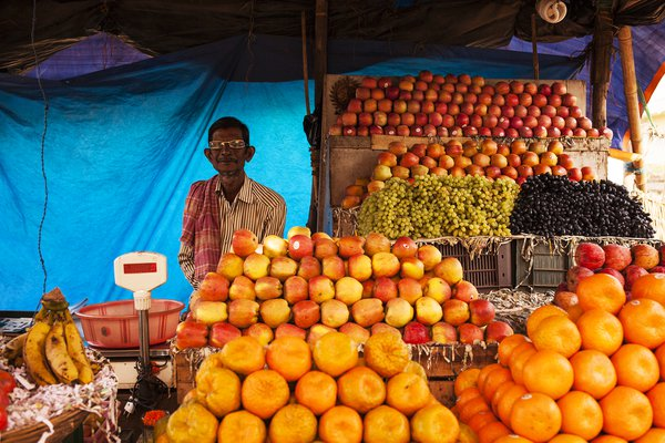 Street market, fruit seller. thumbnail