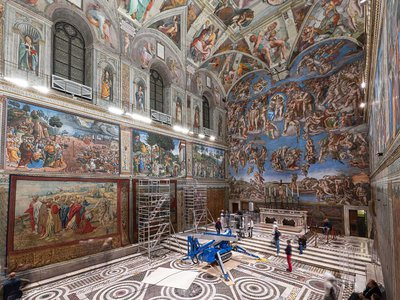 The tapestries depict scenes from the lives of St. Paul and St. Peter.