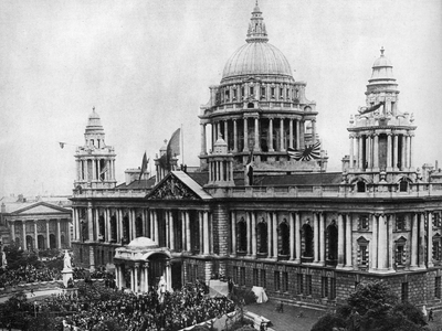 Procession marking the opening of the Belfast-based Ulster parliament in June 1921