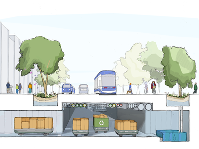 One proposed feature is a system where trash would be separated and removed through underground tunnels.