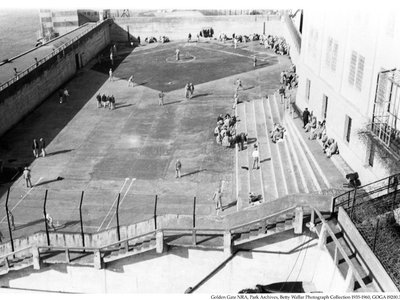 Alcatraz's recreation yard, where the structures were discovered.