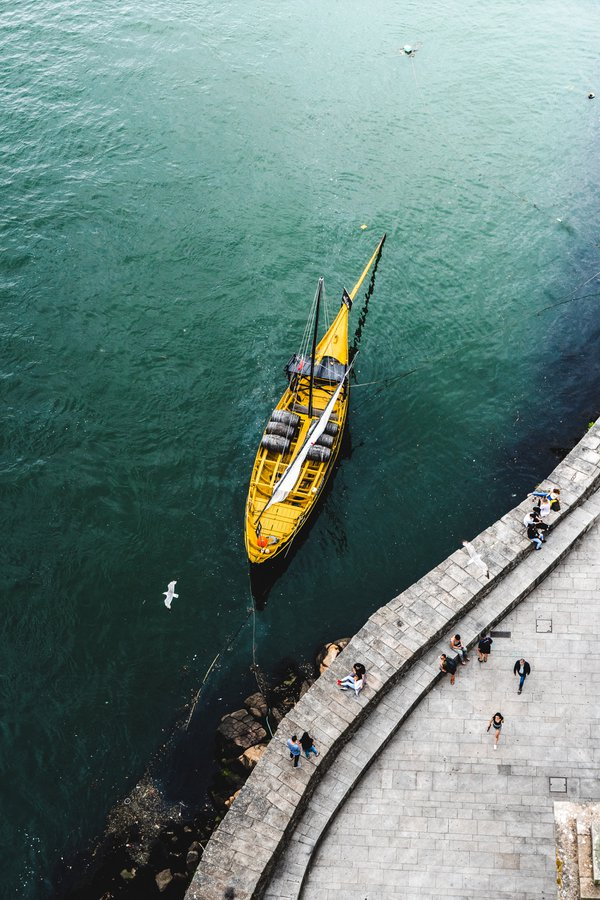 A Portuguese rabelo boat rests on the Douro River thumbnail