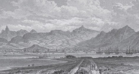 Port Louis, Mauritius, in the first half of the 19th century.