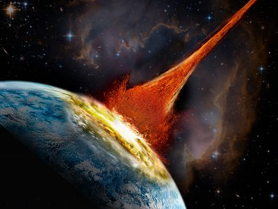 An artist's rendition of an asteroid impact.