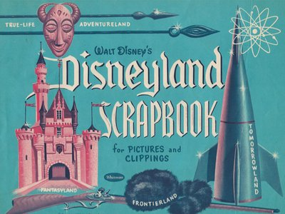 Souvenir Disneyland scrapbook with Frontierland's iconic symbols from 1955
