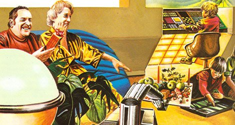 """Christmas in the future as imagined in the 1981 book """"Tomorrow's Home"""" by Neil Ardley"""