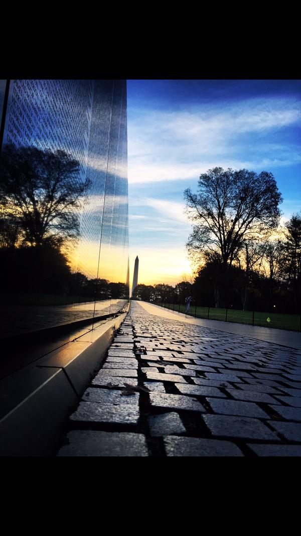 A fall sunrise at the Vietnam Veterans Memorial thumbnail