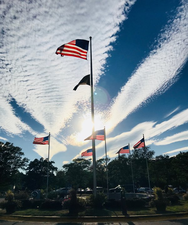 Flags and Clouds at the West Haven, CT VAMC thumbnail