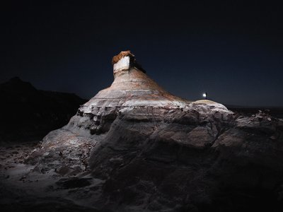 """""""Lux Noctis"""" is a series of photographs depicting landscapes of North America within the framework of traditional landscape photography, influenced by ideas of planetary exploration,19th-century Romantic painting and science fiction 