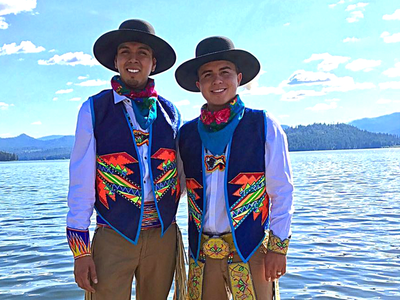 Adrian Stevens (Ute/Shoshone–Bannock/San Carlos Apache) and Sean Snyder (Dine/Ute), a couple who regularly participate in powwows. (Courtesy of Adrian Stevens, used with permission)