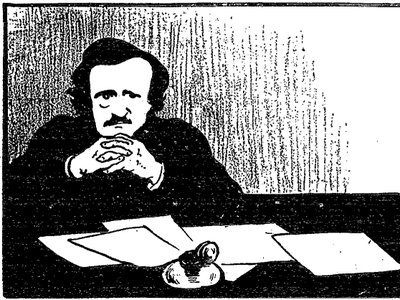 Edgar Allan Poe as imagined in an 1895 image by Swiss/French printmaker Félix Valloton.