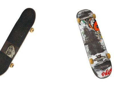 Leo Baker's personalized skateboards (NMAH)