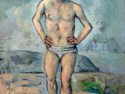 Le Grand Baigneur (The Large Bather) by Paul Cezanne illustrates the kind of bathing suit that inspired the creation of the modern brief.
