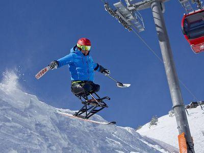 Jim Martinson using his sit ski at Crystal Mountain Resort, Washington