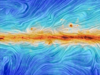 This visualization, built using data from the Planck satellite, shows the swirls of the Milky Way's magnetic field. The orange region represents the galactic plane.