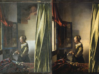 """Left: Half-restored version of Vermeer's """"Girl Reading a Letter at an Open Window"""" / Right: Unrestored version"""