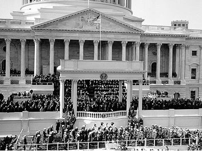 Inauguration of President Kennedy on the East Portico of the U.S. Capitol.